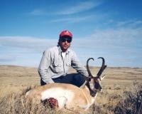 Antelope and hunter